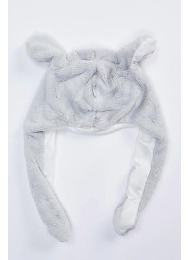 DeFacto Kız Çocuk Tavşan Figürlü Kulaklı Peluş Bere Gri
